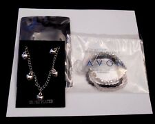 LOVELY 2-PC LOT AVON FACETED HAIR ACCESSORY & SILVERPLATED HEART BRACELET NEW