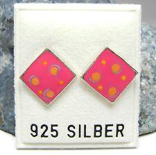 NEU 925 Silber OHRSTECKER mit PÜNKTCHEN pink/gelb/blau OHRRINGE Quadrat PUNKTE