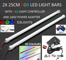 2X 25CM LED STRIP LIGHT BAR RGB 240V 12V POWER SUPPLY CAMPING HOME CAR UTE 4WD