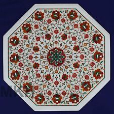 """Carnelian 18"""" Intricate White Marble Coffee Table Top Home Decor Floral Art work"""