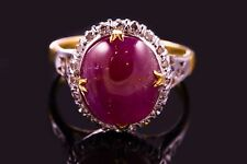 SOLID 9K GOLD RING w. CABOCHON RUBY AND ROSE CUT DIAMOND THAILAND
