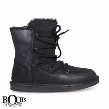 UGG LODGE BLACK SUEDE/SHEEPSKIN LACE UP WINTER BOOTS SIZE US 9/UK 7.5/EU 40 NEW