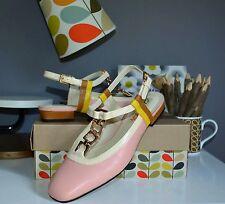 """Clarks Orla Kiely """"Orla Barbara"""" Vintage Pink Leather Flat Shoes Size UK 5.5/39"""