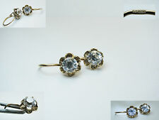 Vintage USSR NATURAL Rock Crystal Earrings SILVER 925 GOLD PLATED ANTIQUE