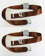 """NEW! Camaro Chevelle GTO 60 """" Seat Belts Set of 2 Chrome Buckle Brown Saddle"""