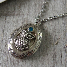 Cameo Cz Owl Locket Pendant Necklace Handmade Necklace