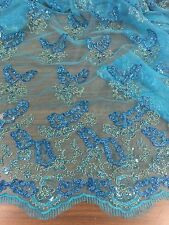 "TURQUOISE MESH W/TURQUOISE GOLD 3D EMBROIDERY SEQUINS LACE FABRIC 50"" WIDE 1 YD"