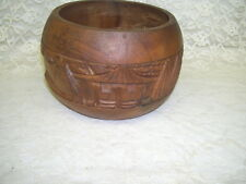 HANDCARVED BOWL MONKEYPOD WOOD MADE IN THE PHILLIPPINES