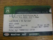 05/08/2010 Ticket: Hibernian v NK Maribor [Europa League] (folded, creased, slig