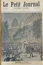 EMEUTES PARIS ASSAUT PREFECTURE POLICE et STRASBOURG GRAVURE PETIT JOURNAL 1893