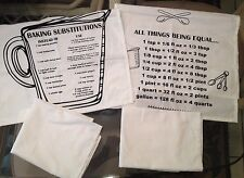 Set of 4 Kitchen Towels All Things Being Equal... Baking Substitutions White NEW