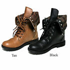New Womens Lace Up Zipper Warm Flannel Fold Over Cuff Military Combat Boots