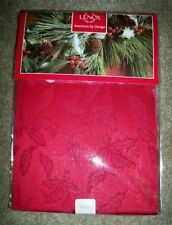 "LENOX TABLECLOTH Holiday Holly Damask Red, 60"" X 84"" Oblong~NEW~Originally $50"