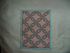 Miniature Doll Quilt-Wedding Rings-Blue Back