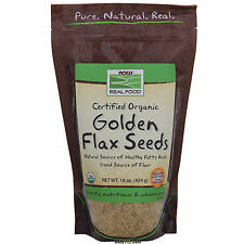 NOW Foods Certified Organic Golden Flax Seeds 16 oz (1 lb), FRESH, MADE IN USA