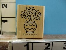 flower in vase daffodil botanical swiggley lines 1999 stampin up rubber stamp 4O