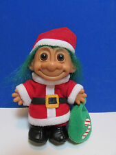 "CHRISTMAS GREEN HAIRED SANTA w/BAG - 5"" Russ Troll Doll - COLLECTOR'S ITEM"