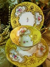 COALPORT TEA CUP AND SAUCER TRIO ornate yellow swag HP FLOWERS c1891 LUSH GOLD