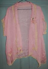 Antique 1920's Silk and Lace Bed Jacket for Gown Grape Cluster Ribbon Work L XL