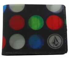VOLCOM New Mens Bifold Plastic Wallet DOT MESS