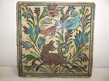 Antique Ottoman Turkish Pottery TILE Islamic IZNIK Armenian BIRD Deer SAZ FLOWER