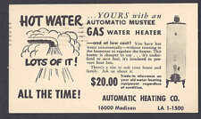 Ca 1940 AUTOMATIC HEATING CO, BUY NEW GAS WATER HEATER LAKEWOOD OH