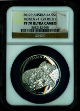 High Relief 2012 P Proof $1 Silver Australia Koala 1 oz Coin PF70 Ultra Cameo