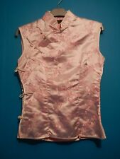 pink satin silk feel oriental chinese top blouse shirt vest cheongsam mandarin