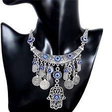 Silver Hamsa Hand Palm Hippy Tribal Ethnic Choker Necklace Jewelry Silver