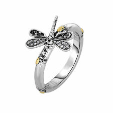 Phillip Gavriel 18k Gold 925 Silver White Sapphire Bamboo Dragonfly Ring