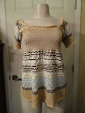 MISSONI WHITE LABEL TAN/BLUE/BLACK BABY DOLL STYLE KNIT TOP