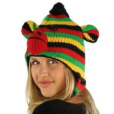 100% Wool Winter Rasta Monkey Animal Fleece Lined Trapper Earflaps Ski Cap Hat