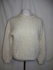 "Ladies Jumper hand knitted Angora wool M chest 41"" length 24"" scoop neck 1284"