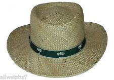 Hat Gambler Straw Flex Fit Sun Protection Beach Cruise Garden Vacation Farm wear