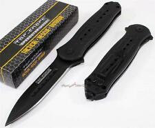 TAC-FORCE Black Spear Point Tactical Spring Assisted Opening Rescue Pocket Knife