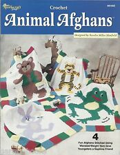 Animal Afghans Crochet Patterns Kids Bear Bunny Frog Tiger Needlecraft Shop NEW