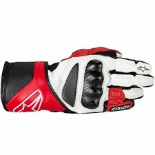 ALPINESTARS SP-8 Long Cuff Leather Motorcycle Gloves (White/Red/Black) 2X-Large