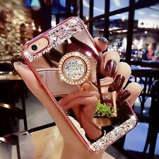 ROSE GOLD RHINESTONE Mirror Ring Cute Bling Phone Cover Case For iPHONE 7 PLUS