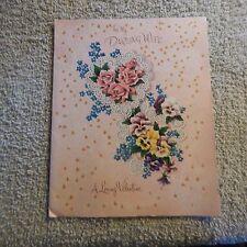 Vintage Valentine's Day Card NORCROSS 50V600 Darling WIFE, Roses & Pansies