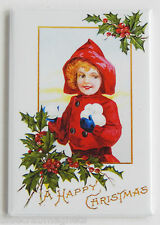 Girl Throwing Snowballs FRIDGE MAGNET (2.5 x 3.5 inches) christmas holly