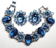 Juliana D&E Blue Rhinestone Bracelet Earring Set