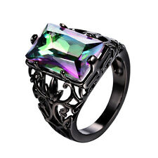 Hollow Rectangle Mystic Rainbow Topaz Wedding Ring 10KT Black Gold Filled Sz5-11