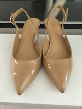 Michael Kors  Heel Pointed Toe Slingback Pump Patent Leather Nude size 8.5