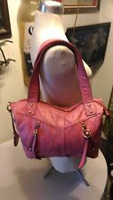 Fossil purse gorgeous Fushia pink leather tote with gold hardware key & lock tag