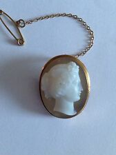 Fine Antique Carved Agate Hardstone Cameo Brooch - 15ct Gold - Birmingham 1890