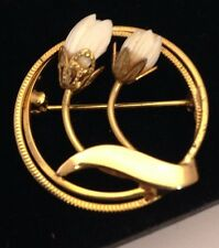 Vintage Estate Gold Tone Pikake Blossom Pin Brooch On Trend Chic 3d