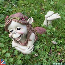 Pixie Girl Garden Sculpture Goblin Ornament Outdoor THREE PIECE Funny NEW 39103