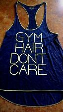 WOMENS GYM HAIR DONT CARE TANK BY #EVCR NAVY/NEON GREEN SIZE MEDIUM
