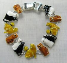 Multicolored Silver Plated Kitty Cat Charm Bracelet With Magnetic Clasp # 3462