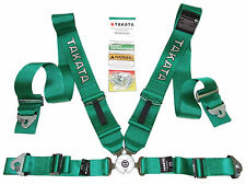 "Takata RACE 4 Point Snap-On 3"" Racing Seat Belt Harness with Camlock (Green)"